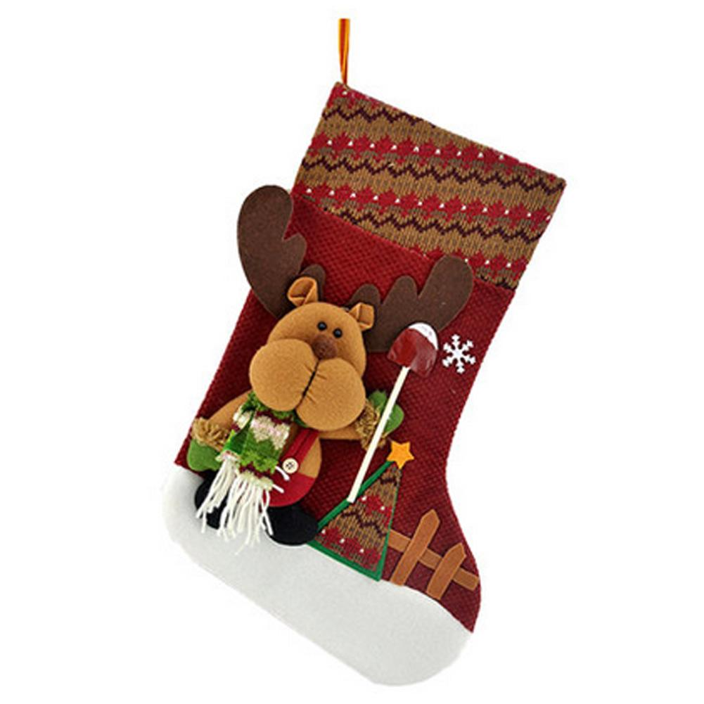 "17"" Christmas Stocking Tree Hanging Xmas Decoration Santa Claus Stocking Gift E"