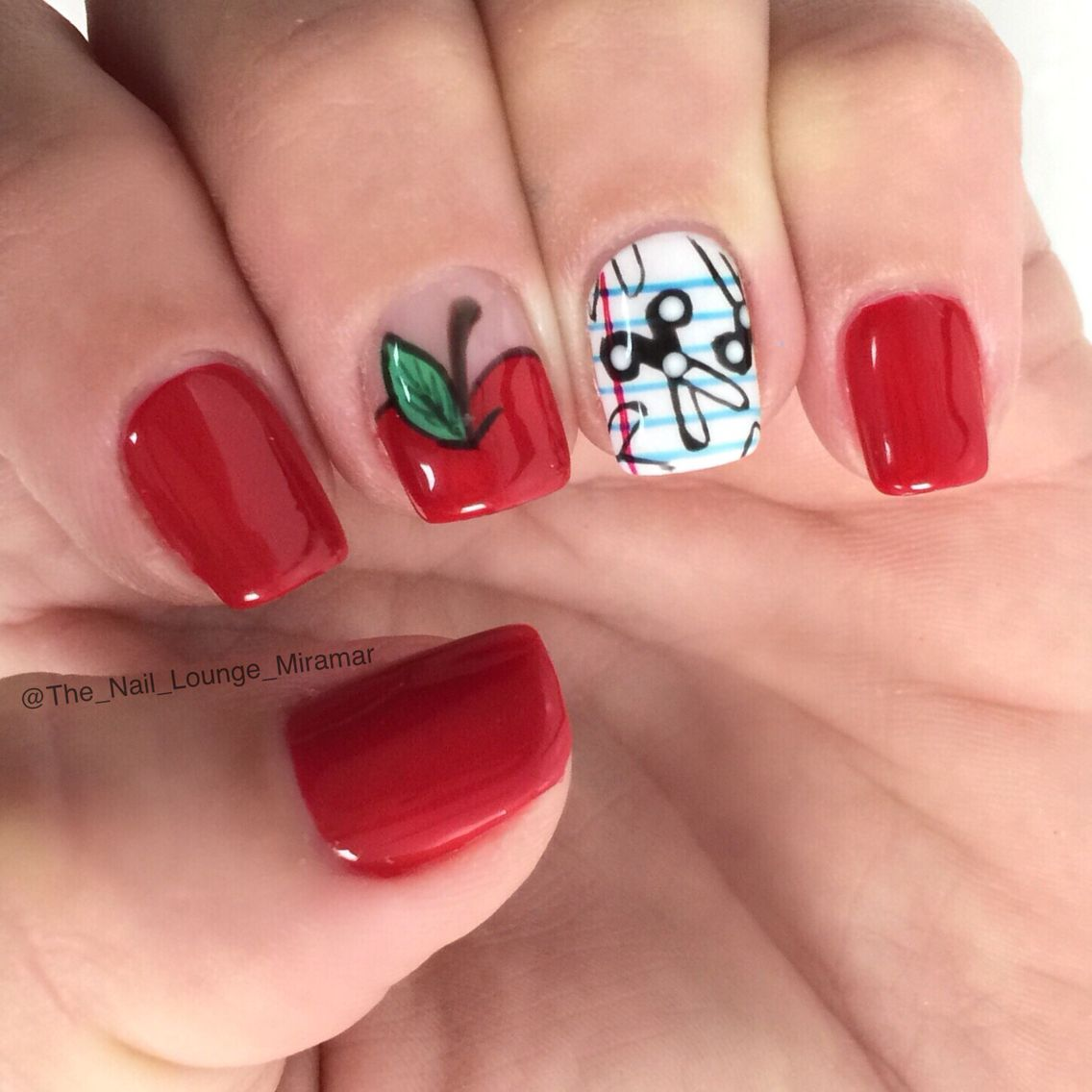 Apple Scissors Back To School Nail Art Design Geeky Nails