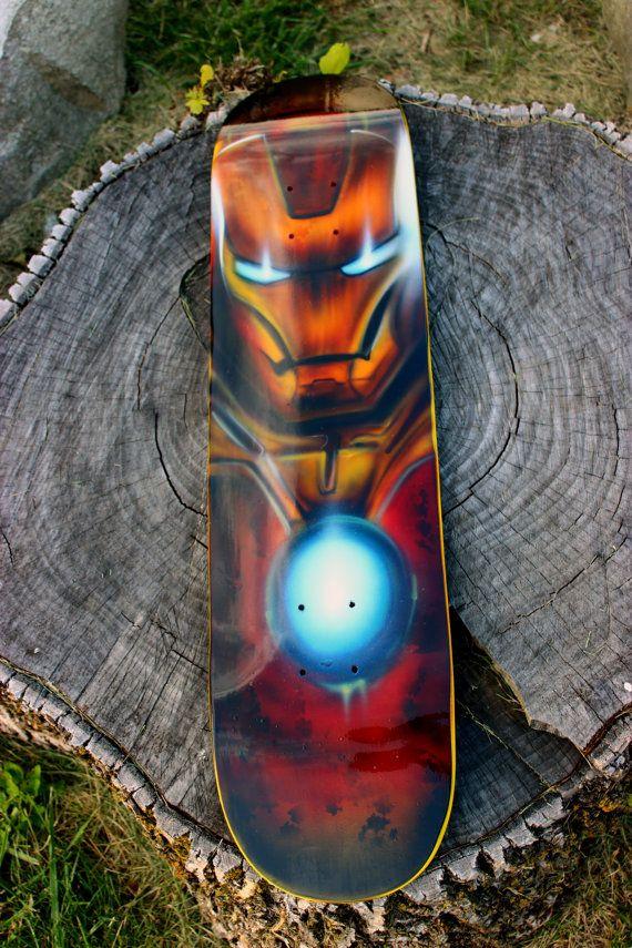 Iron Man Original Custom Painted Skate Deck Skateboard Graffiti Comic Art Skateboard Design Custom Paint Graffiti