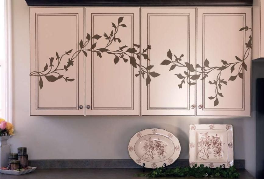 Are Vines Leaves Birds Nature This Is An Elegant Way To Bring Nature Inside Home Depot Kitchen Kitchen Cabinet Decals Painting Kitchen Cabinets White