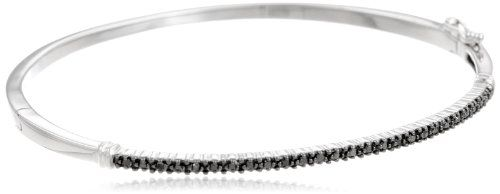 Silver Black Diamond Bangle Bracelet (0.25 cttw) | Your #1 Source for Jewelry and Accessories