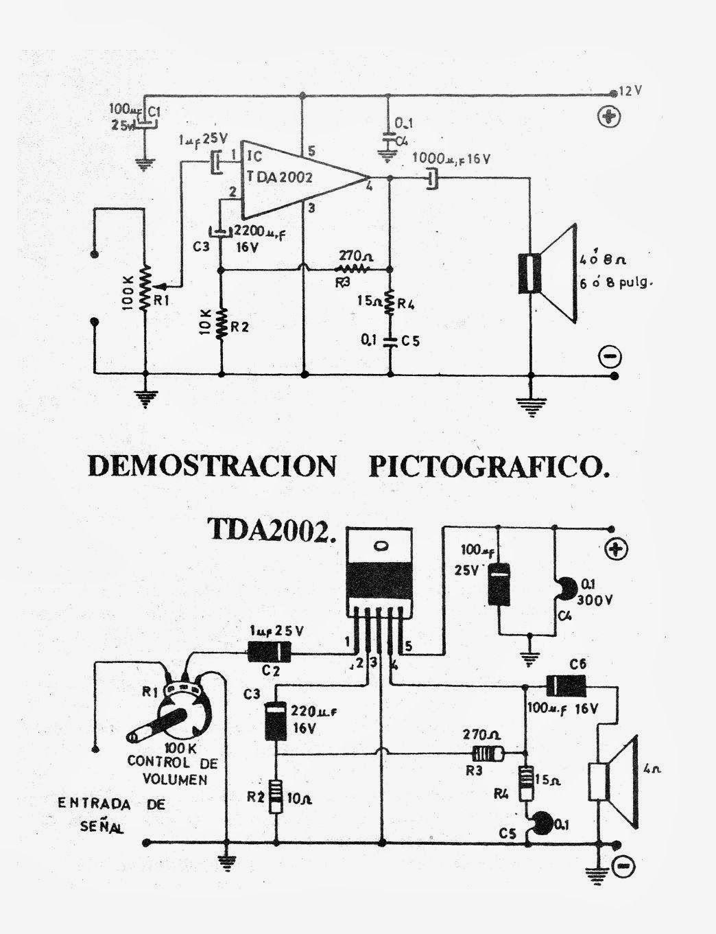 Circuito amplificador con integrado TDA2002 El circuito presentado ...