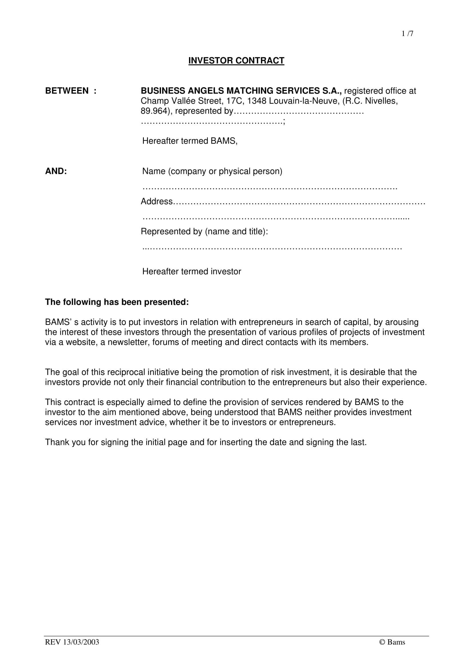 investment contract Kozen