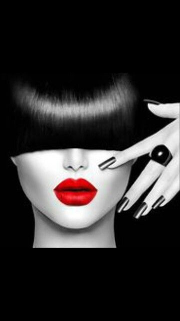 Red Lips Color Splash Photography Black And White Painting
