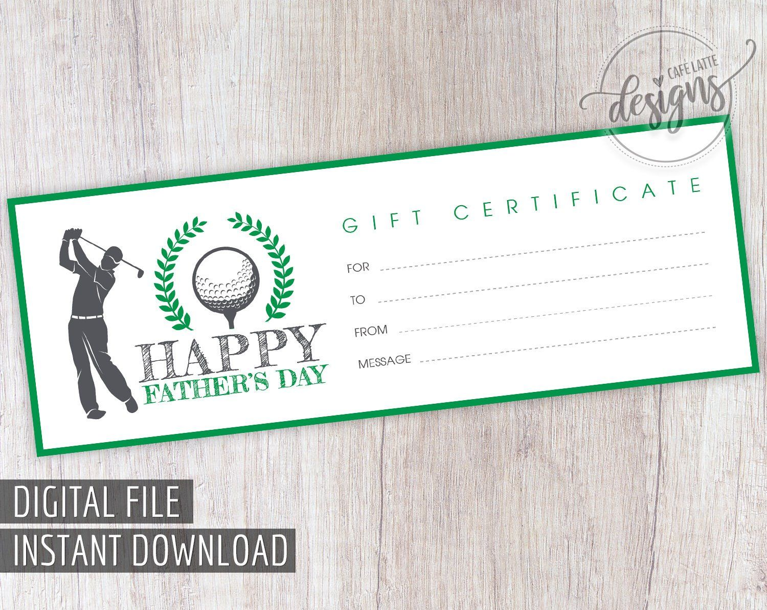 Father S Day Gift Certificate Golf Player Printable Gift Coupon For Dad Grandpa Gift Card Instant Download Gift Idea For Him For Man Men Printable Gift Certificate Gift Certificates Printable Gift