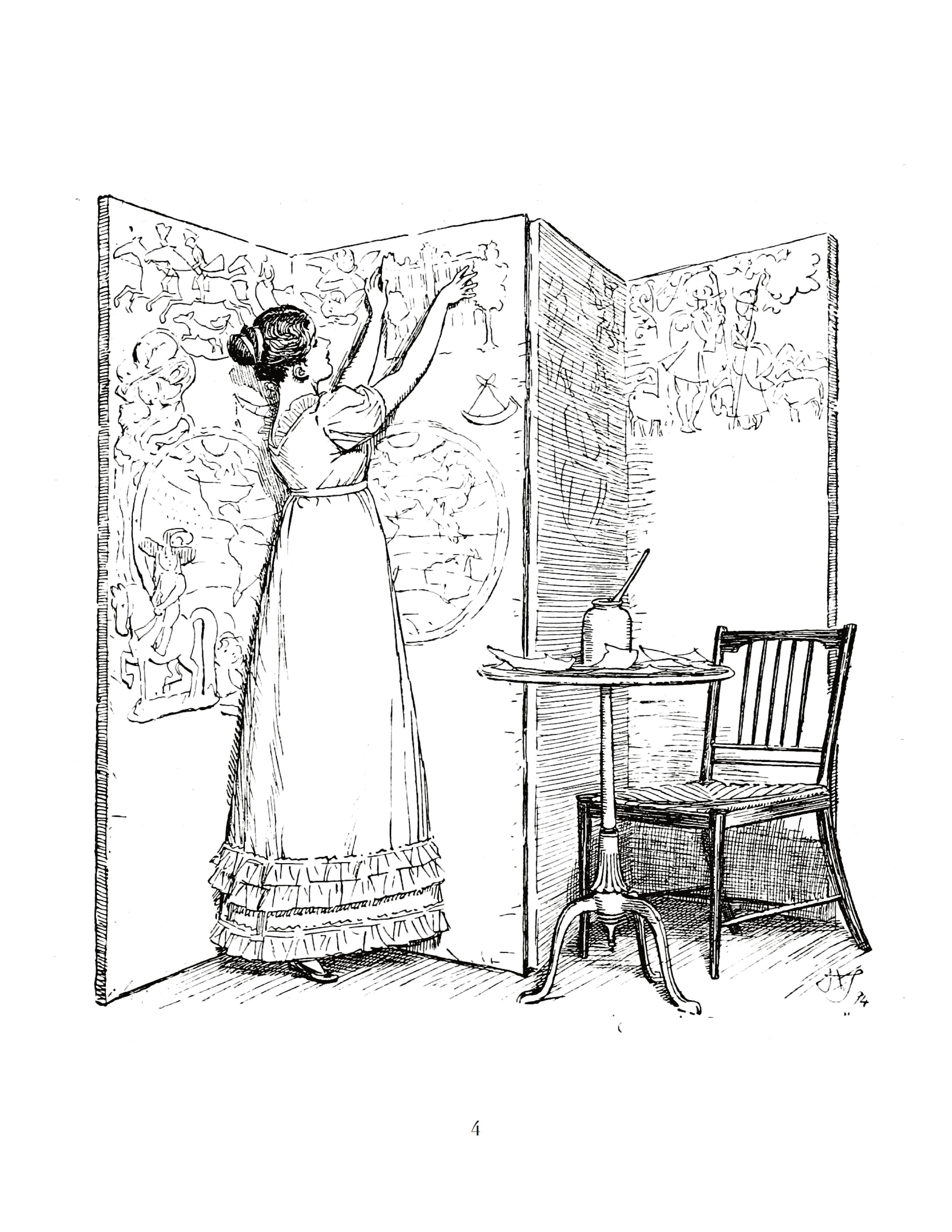 A sample of the coloring pages you can get in Jane Austen