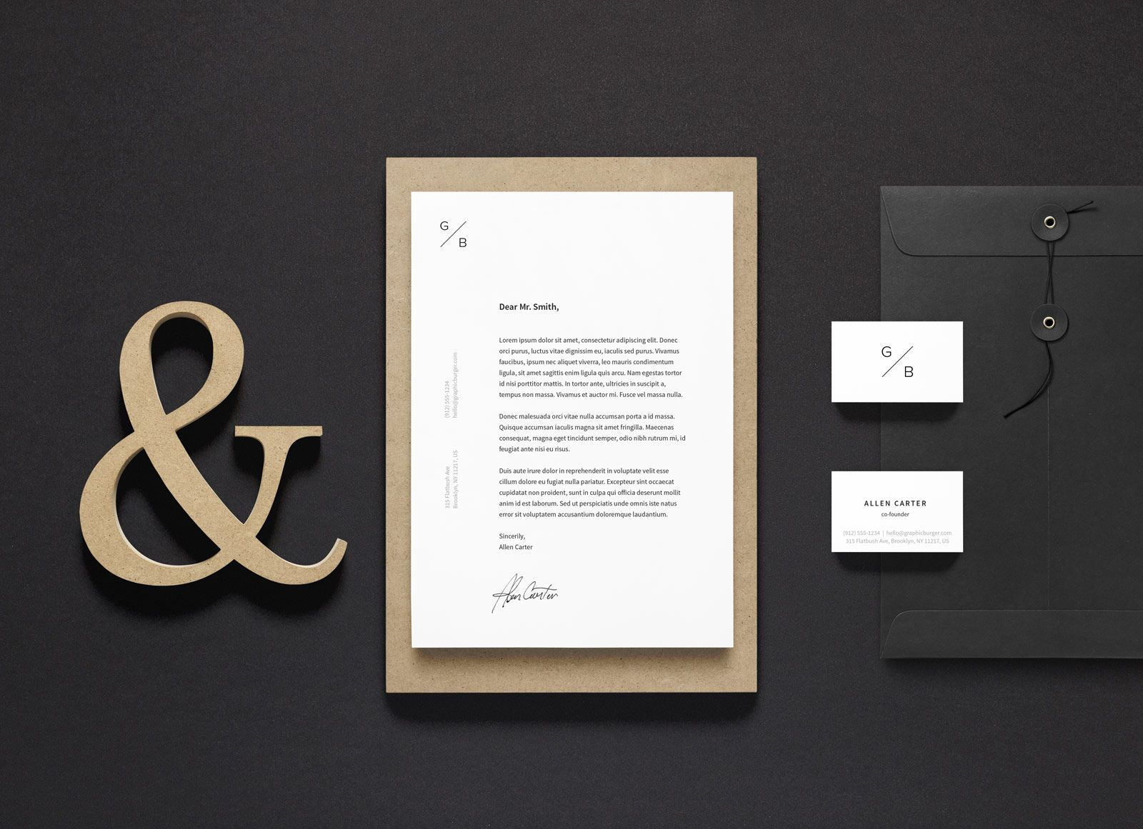 Free A4 Letterhead Business Card Stationery Mockup Psd Stationery Mockup Letterhead Business Stationary Branding