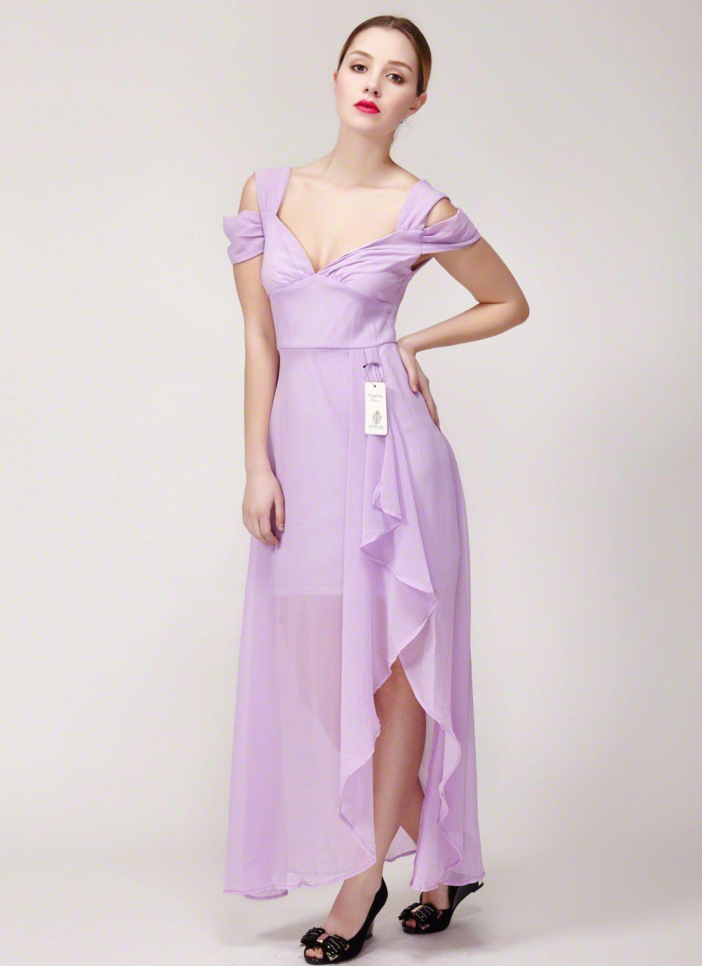 Violet chiffon maxi dress with front slit asymmetric chiffon max
