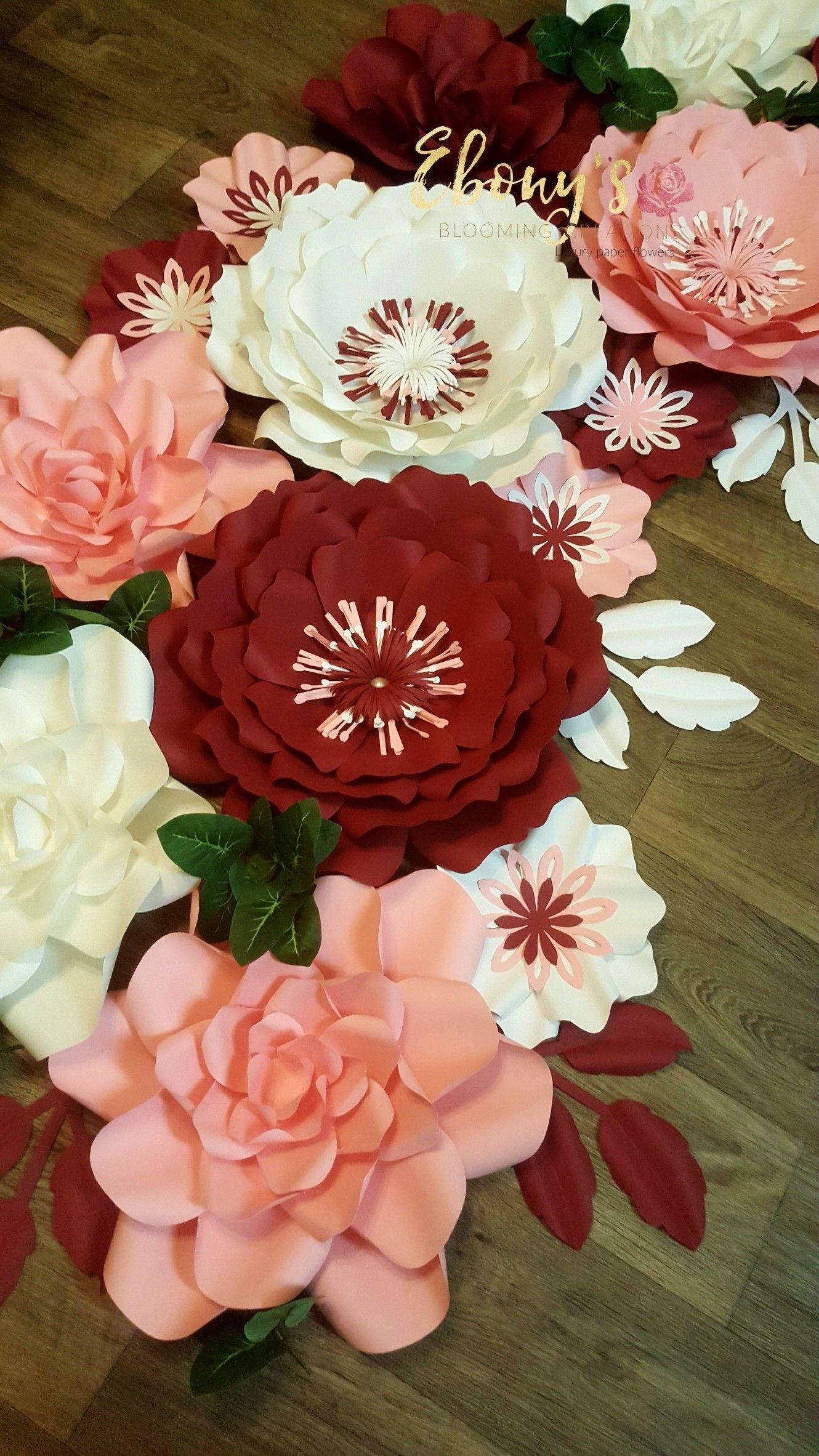 Handmade Cardstock Paper Flowers Weddings Paper Flower Wall