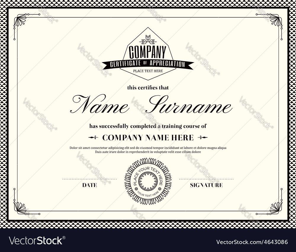 Retro frame certificate of appreciation design template download retro frame certificate of appreciation design template download a free preview or high quality adobe yadclub Images
