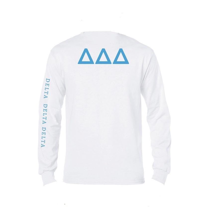 Tri Delta Long Sleeve Shirt Symbol Sorority Name Down Arm