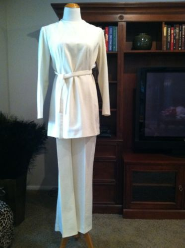 Vintage Ivory Pant Ensemble Featuring Belted Tunic and High Waist Flare Hem Pant