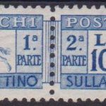 1954 – Cavallino L.1000 oltremare con n. 81/I ben centrato Cert. Biondi Cat. € 6000,00. SPL