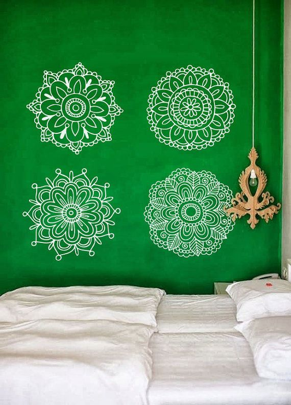 Pretty Mehndi Henna Medallions Wall Decal For Yoga Studio Spa Or - Yoga studio wall decals