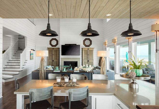 Coastal Farmhouse Interior Design Kitchen Lighting Pendants
