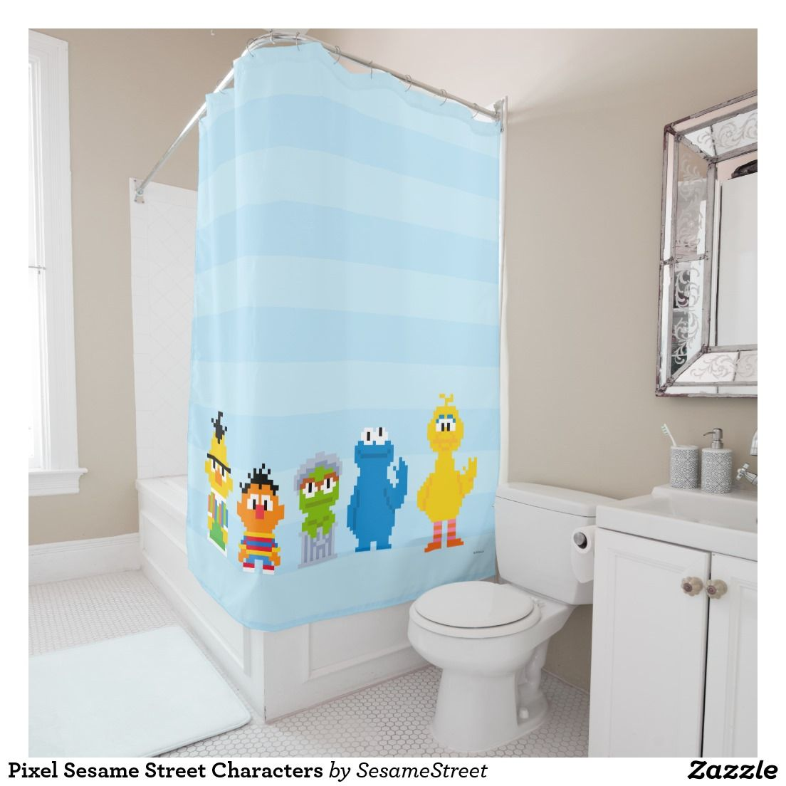 Fun Brightly colored Pixel Sesame Street Characters Shower Curtain ...