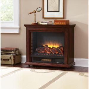 Hampton Bay Derry 32 In Compact Infrared Electric Fireplace In Cherry 25 791 68 Y The Home Depot Electric Fireplace Heater Fireplace Heater Electric Fireplace
