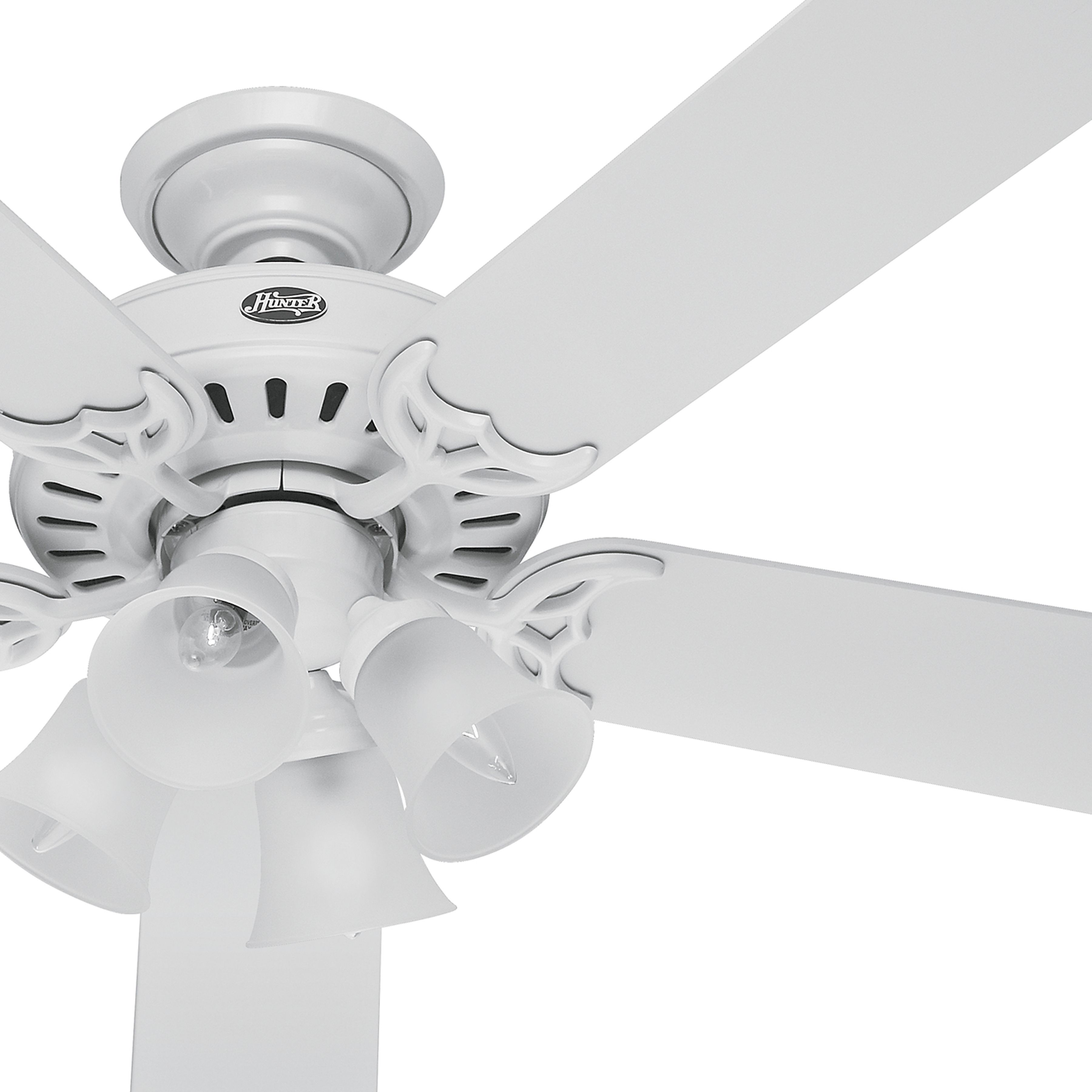 Hunter 52 Inch White Finish Ceiling Fan With Clear Frosted
