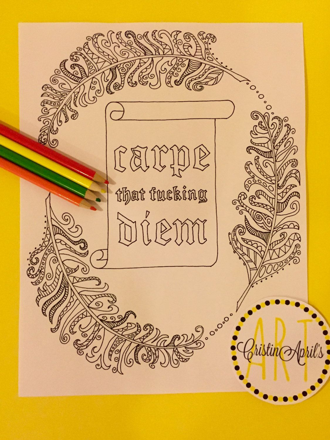 Swear word coloring pages etsy -  Carpe That Fuc Ing Diem Printable Adult Coloring Book Page Instant Download