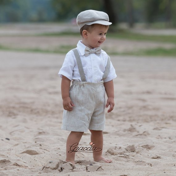 114b085ace Ring bearer newsboy outfit Baby boy natural linen suit Striped linen shorts  suspenders newsboy hat R