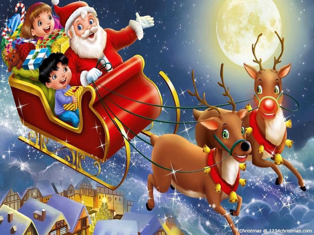 Santa Claus Flying Reindeer HD Wallpaper | Santa Flying ...