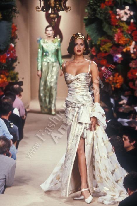 Yasmeen Ghauri In Ysl Gown 1990s High Fashion Runway Yves Saint Laurent Couture Whimsical Fashion