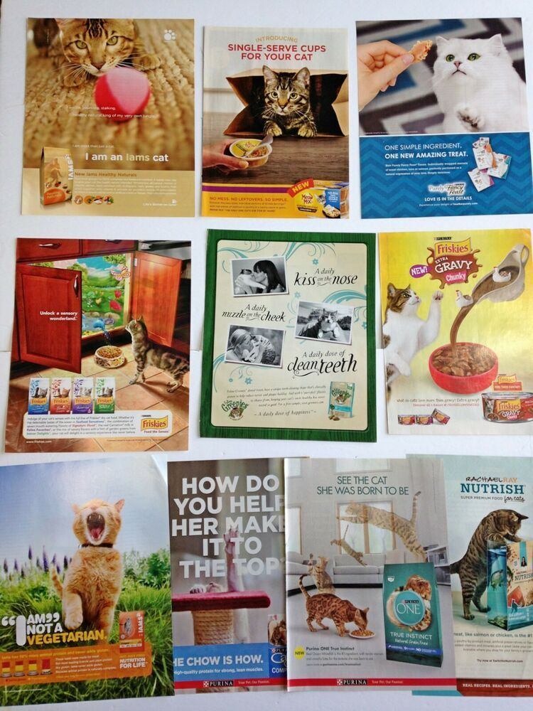 Lot of 10 Ads Magazine Clippings Cat Food, treats