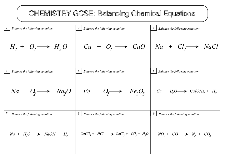 GCSE Chemistry Worksheet Balancing Chemical Equations