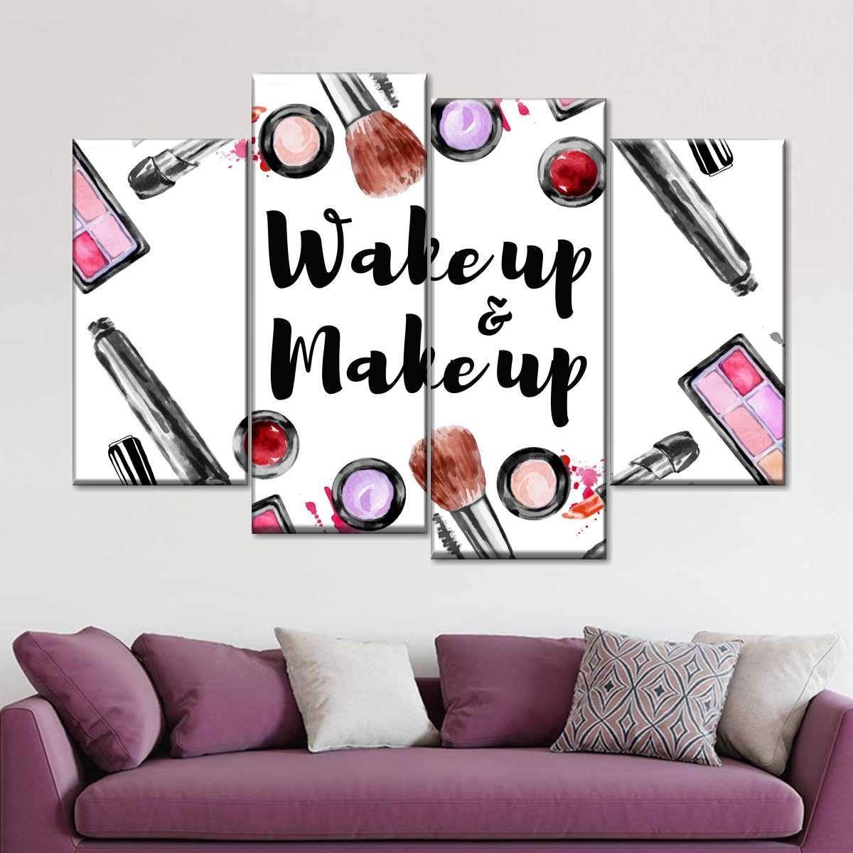 Wake Up And Makeup Multi Panel Canvas Wall Art Makeup Wall Art Panel Wall Art Multi Panel Wall Art
