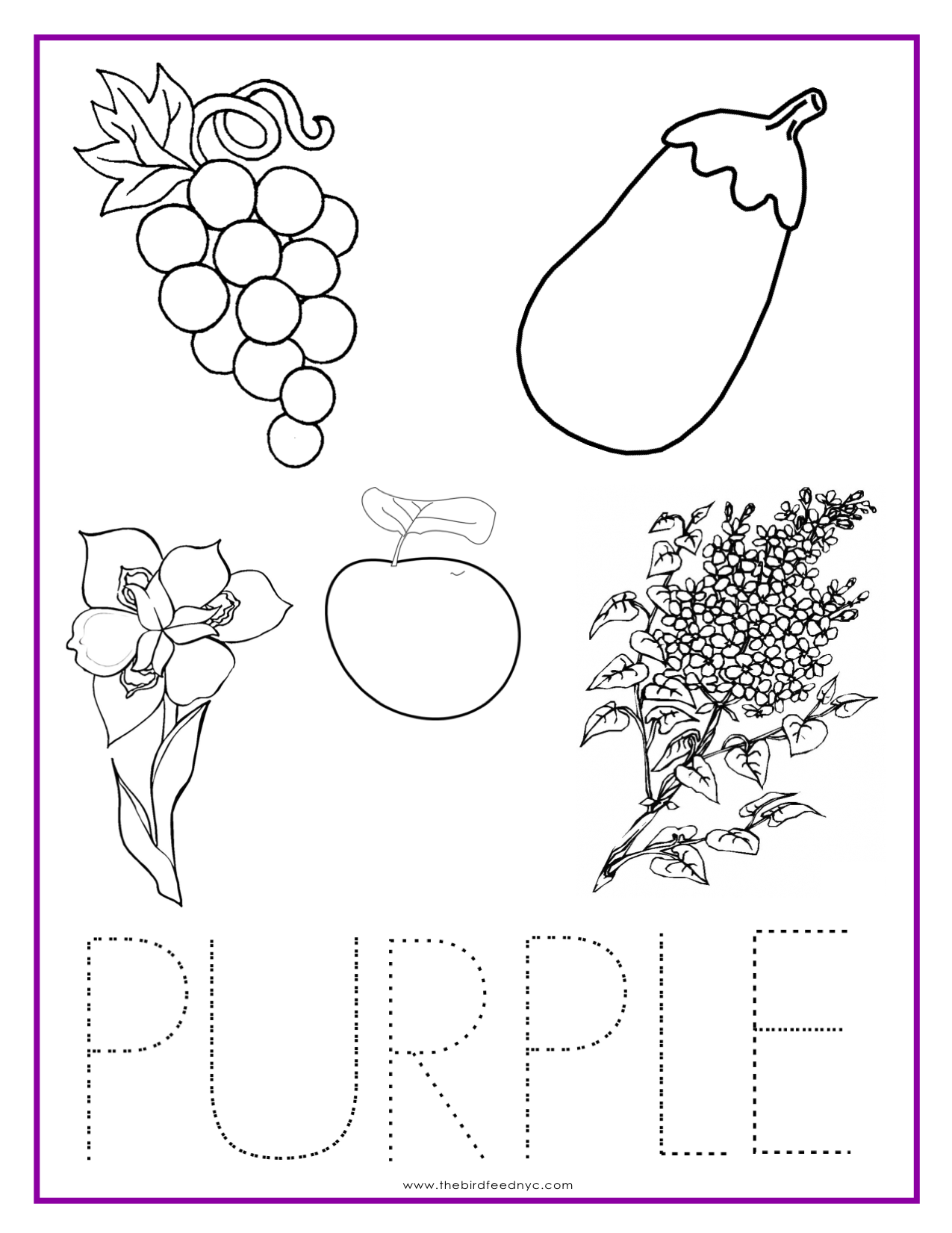 Coloring games in english - Purple Color Activity Sheet