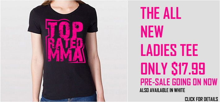 THE ALL NEW LADIES TEE PRE-SALE PRICE ONLY $17.99 – ALSO AVAILABLE IN WHITE http://www.topratedmma.com/ladies-logo-tee/