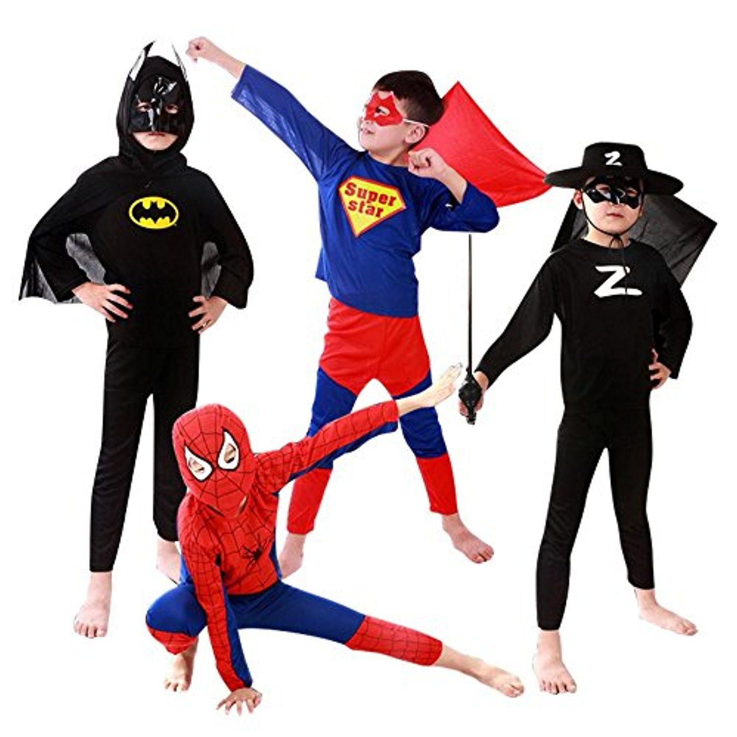 Halloween Kids Spiderman Costume For Boys Masquerade Dress Up Party ...