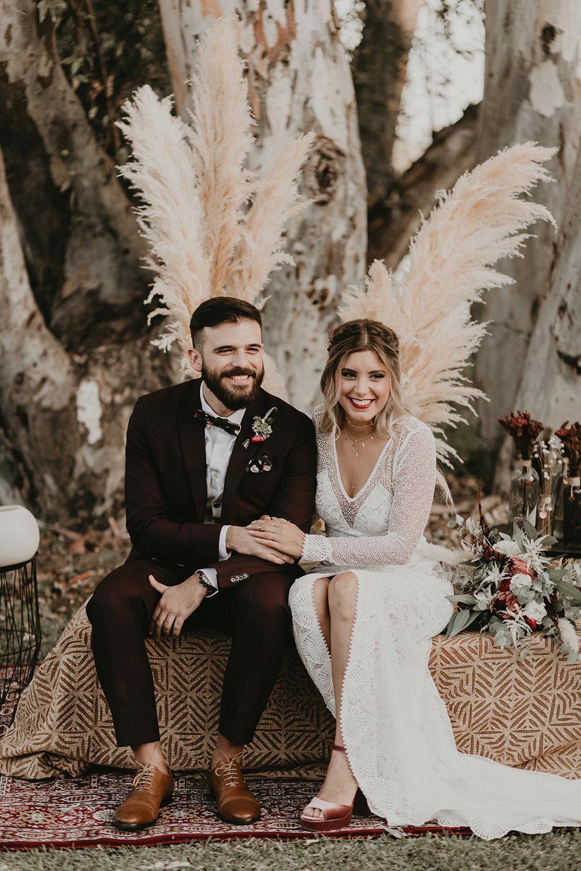 Boho chic seville wedding with a flirty lace wedding dress