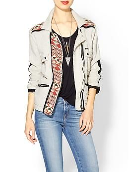 Linen Jacket w/Print and Leather Detail