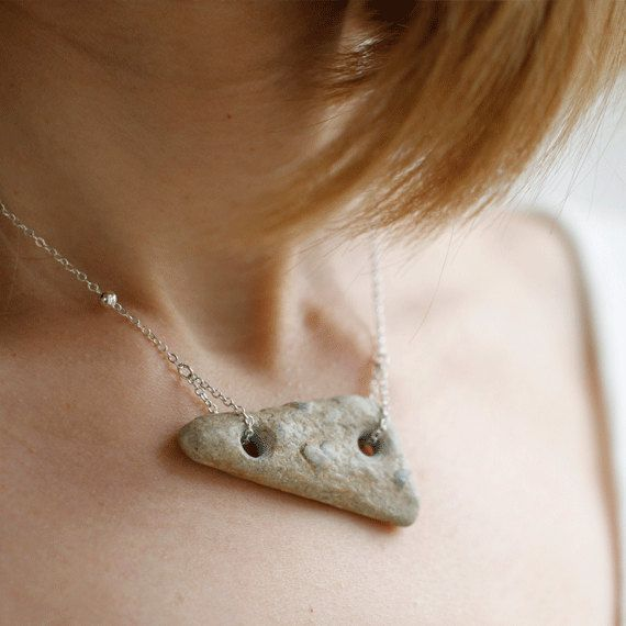 Fossil Stone pendant necklace - meaningful gift for her.