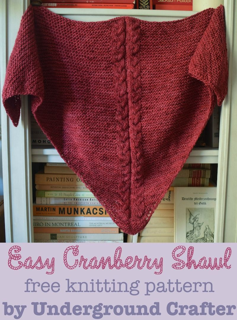 Easy Cranberry Shawl, free #knitting pattern by Marie Segares ...