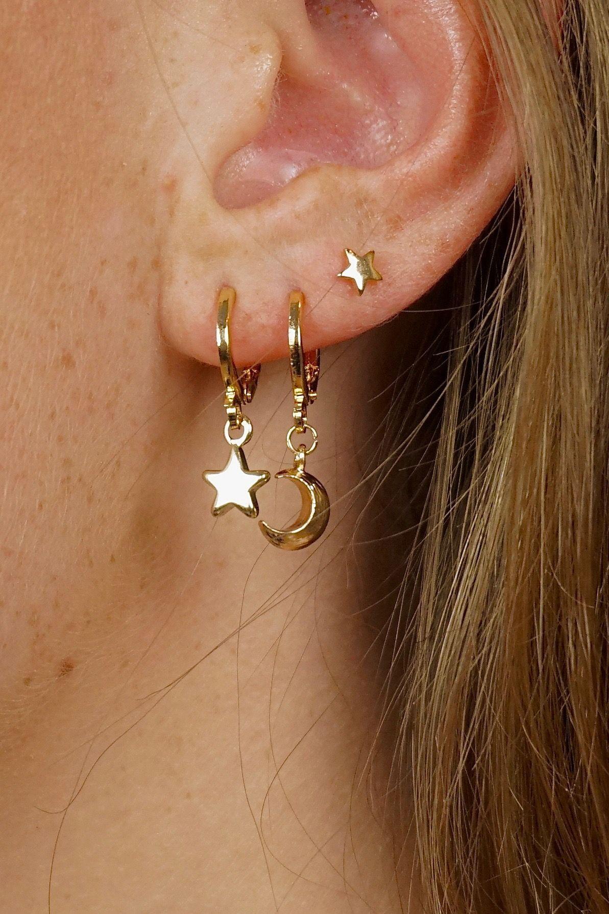 Crystal Shape 24 carat Gold Plated Earrings Surgical Steel Ear Piercing Studs