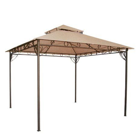 Tan 2 Tier Patio Sun Shade 10x10 Ft Gazebo Top Replacement Canopy 89 99 Velcro Attaching Tabs For Conveni Patio Sun Shades Gazebo Canopy Replacement Canopy