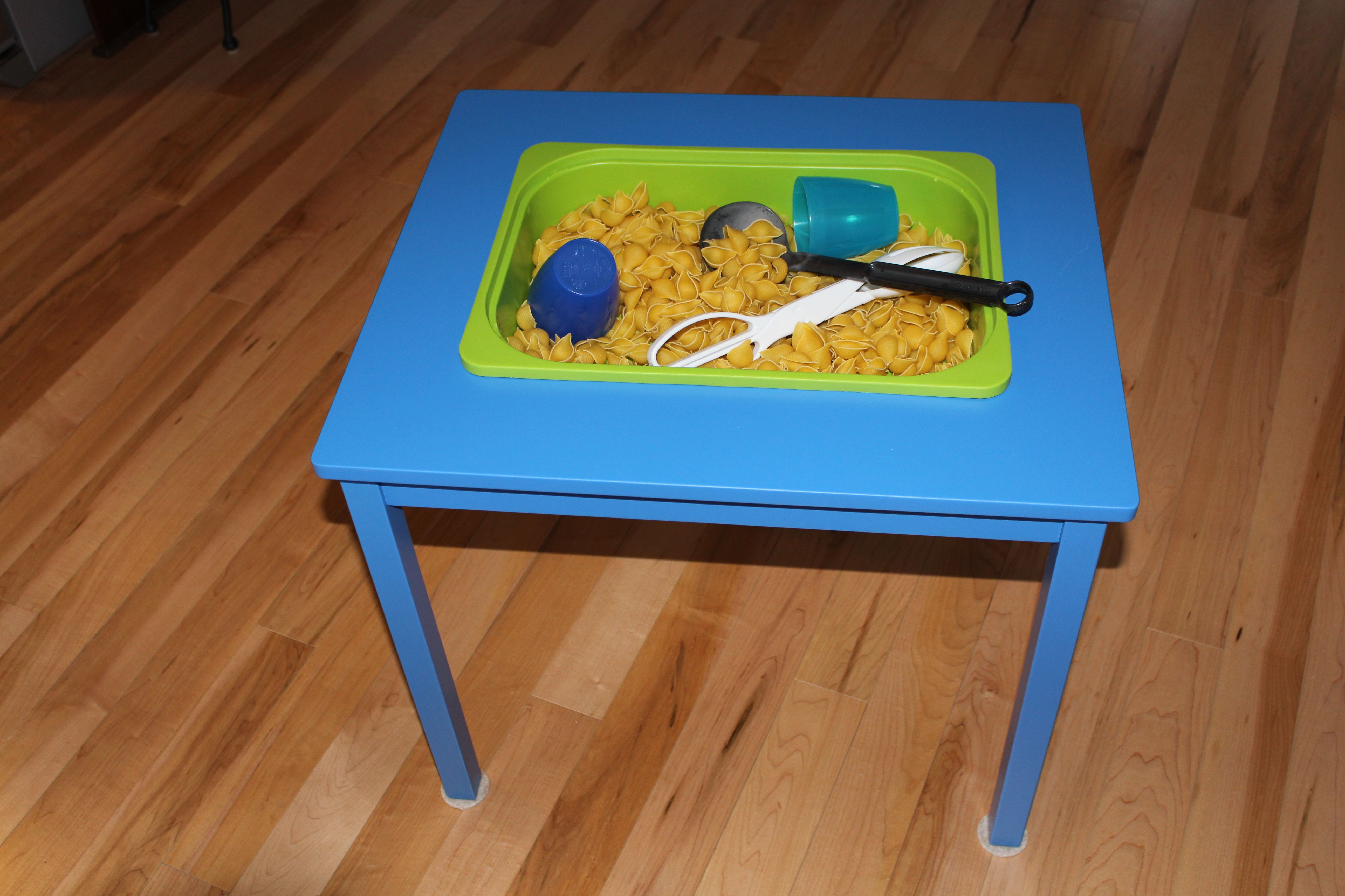 Daycare Sensory Table Made With A Blue Ikea Kritter