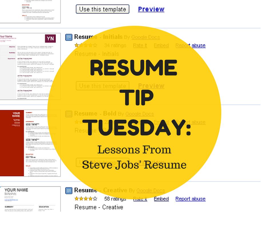 resume tip tuesday lessons from steve jobs resume http bit ly