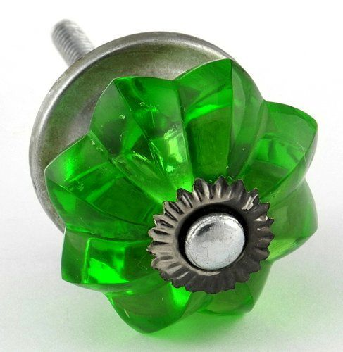Emerald Green Glass Cabinet Knobs 8 pc Cupboard Drawer Pulls & Handles ~ K62 Old Emerald Green Melon Style Glass Knobs with Antique Zinc Hardware ~ Glass Knobs, Handles & Pulls for Dresser, Drawers, Cabinets & Vanity by Knobs & More Home Decor, http://www.amazon.com/dp/B005F24RXE/ref=cm_sw_r_pi_dp_Cuu3pb0DA43NE