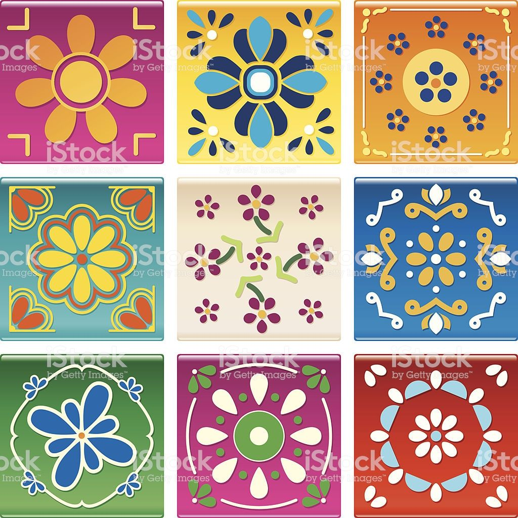 Modern Mexican Tile Royalty Free Modern Mexican Tile Stok Vektor Sanati Amp Dekorasyon Nin Daha Fazla Gorseli Meksika Sanati Desenler Sablon Baski