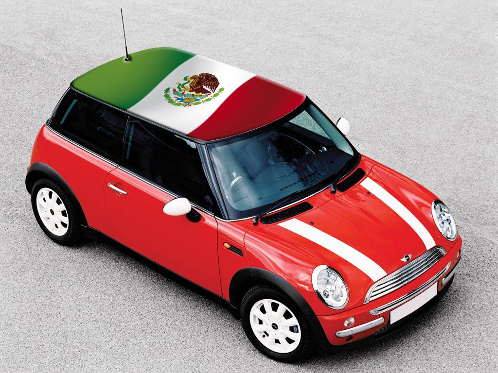 mexico #flag | flags on mini cooper roof | pink mini coopers, mini