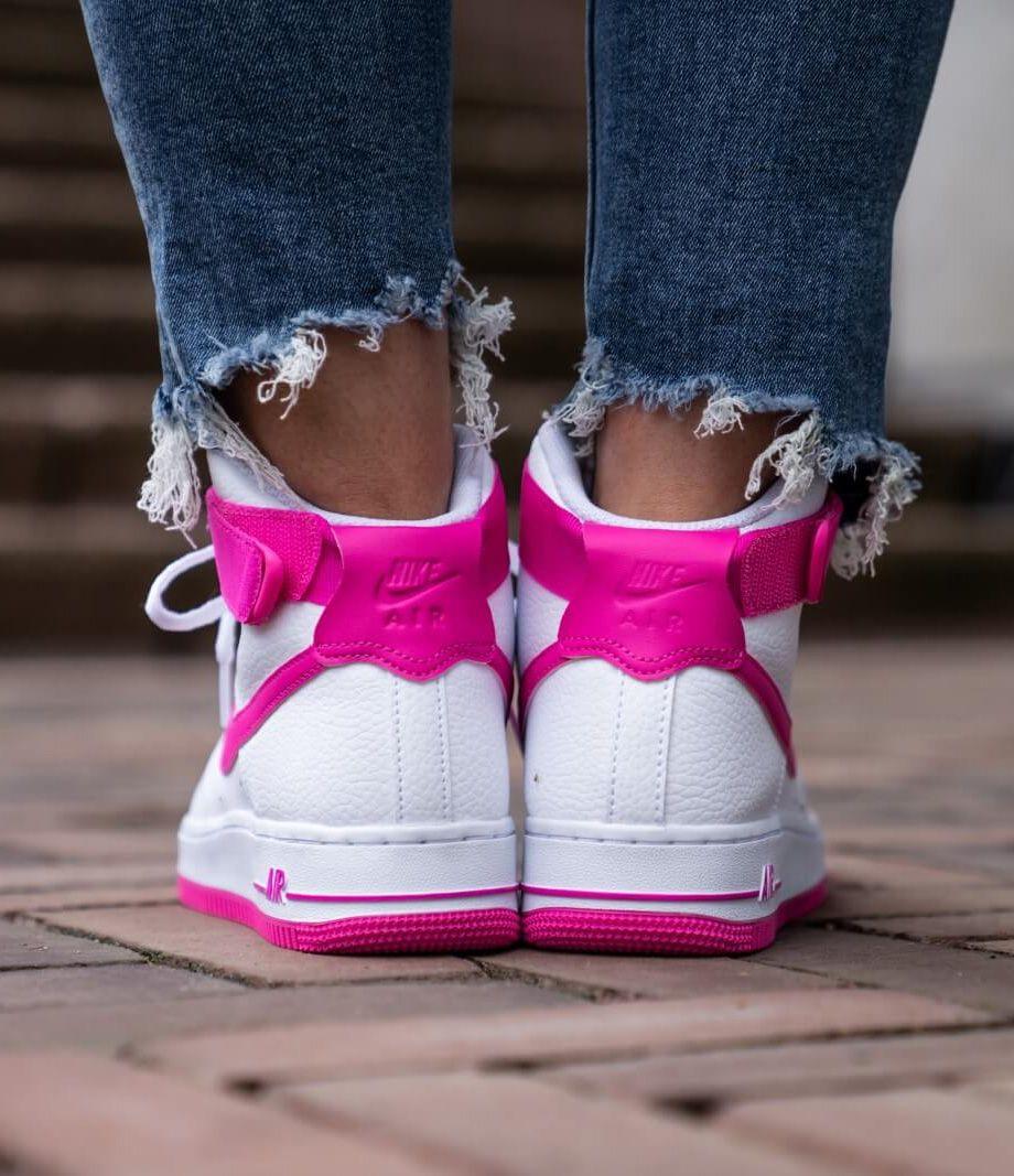 Nike Air Force 1 High White/Laser Fuchsia-True Berry sneakers ...