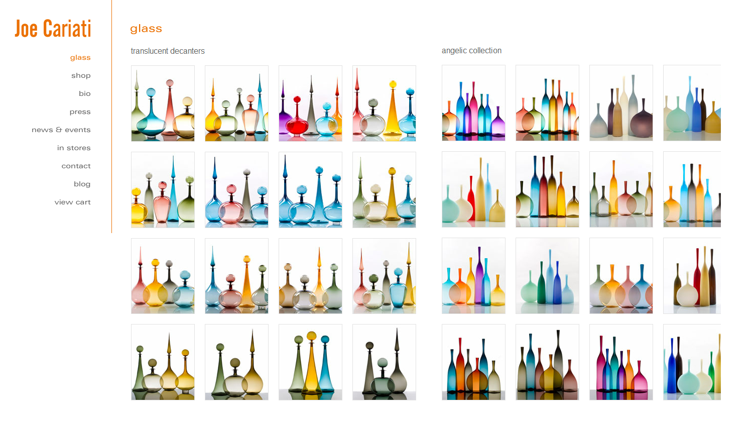 joe cariati handcrafted glass decanters
