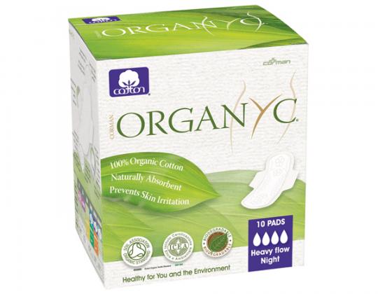 ORGANYC- Compresas Orgánicas de Noche con alas 10 unidades.  Composición: Fibras de algodón 100 % orgánico, velo de algodón, sin tejer, hilo de algodón.