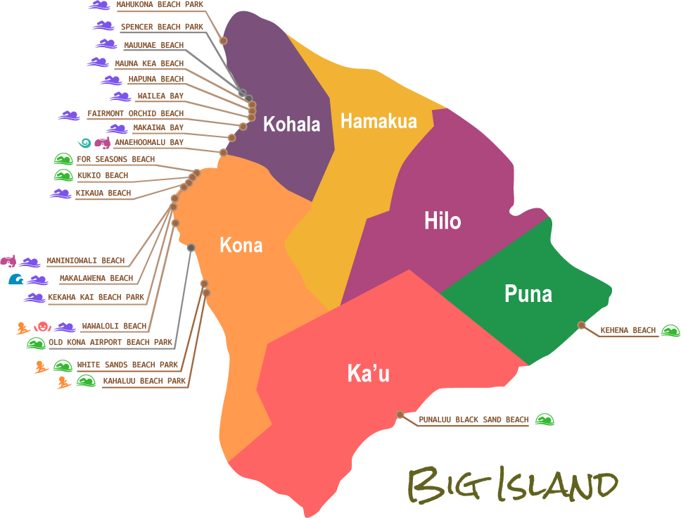 Beaches Map   Big Island, Hawaii | Hawaii Maps | Pinterest | Big