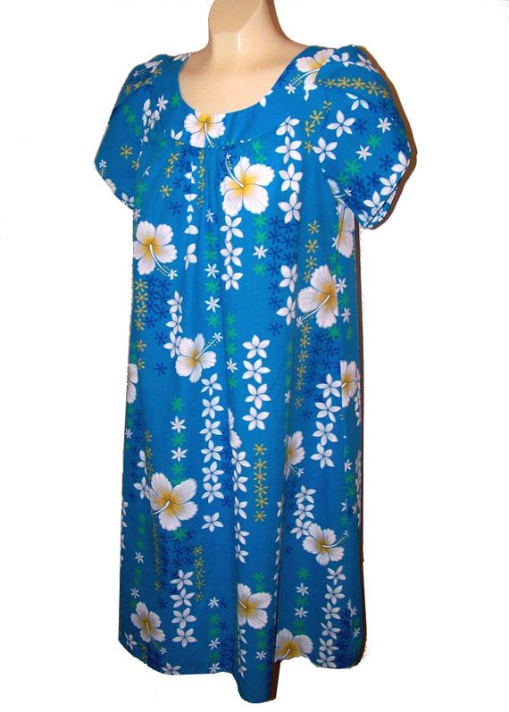 d94dcfdba08b Blue Hawaii Hawaiian Moo Moo Dress Hibiscus Flowers by DeNovoChic, $24.00  Mom wore these because they were so comfortable.