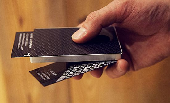 Cardissimos carbon fiber business card and card cases for carbon fiber business card holder from cardissimos the design allows you to take out a card with just a slide of the thumb reheart Image collections