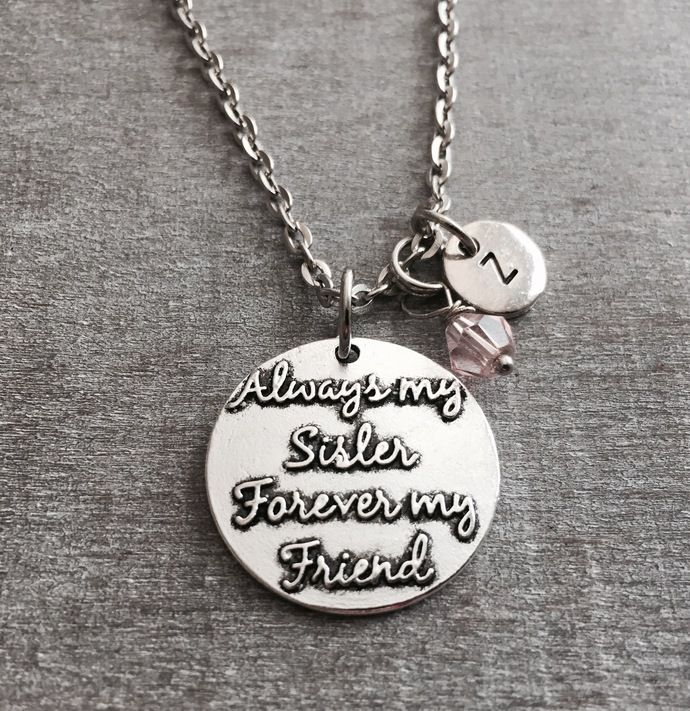 Always my sister forever my friend, Sister, Sister Heart necklace, Sister gift,Heart, Sister Jewelry, Personalized Necklace, Initial Charm by SAjolie, $19.25 USD
